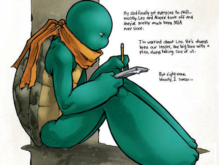 After what could generously be described as a weak previous issue, scripter Tom Waltz (along with story direction from Kevin Eastman and Bobby Curnow) continues the tale of the Ninja Turtles' recovery from the events of 'City Fall.' Is it good?