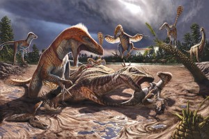 Utahraptor attacking Hippodraco