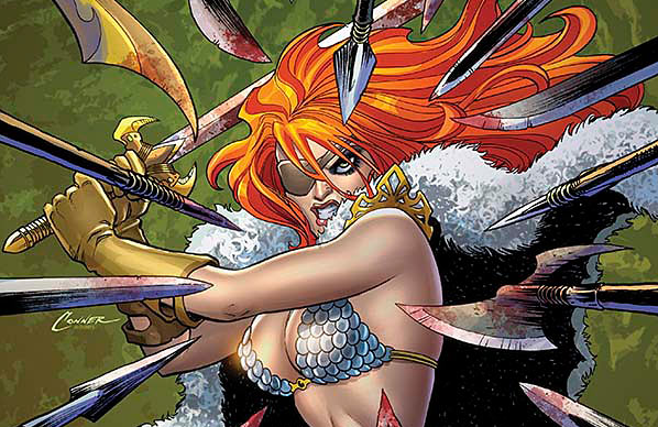 The last issue of this series hinged on one thing:  Red Sonja taking a dude's jewels. Yah, it's brutal, but it was all in the shadow of a dark and mysterious tower that's turned people mad with sin.