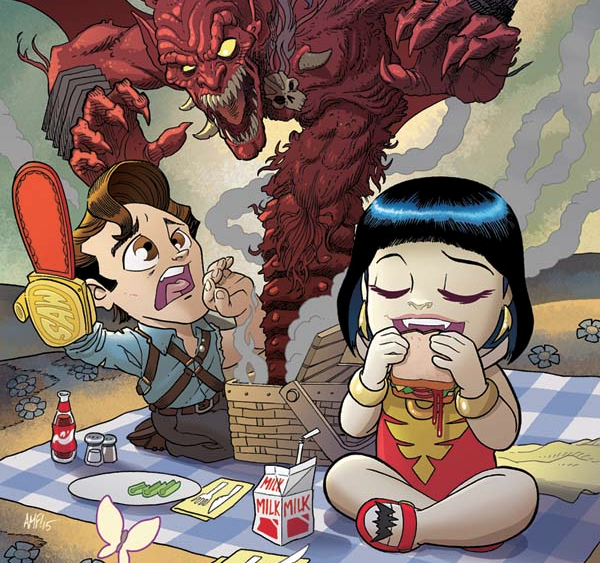 I'm not sure this crossover makes much sense. I mean...Ash is just an average human with a wisecracking personality and the ability to blast zombies with impunity. Vampirella is practically a superhero, with powers and plenty of abilities. One is comedic the other usually deadly serious. Either way, we're reading it and reviewing it to figure out: is it good?