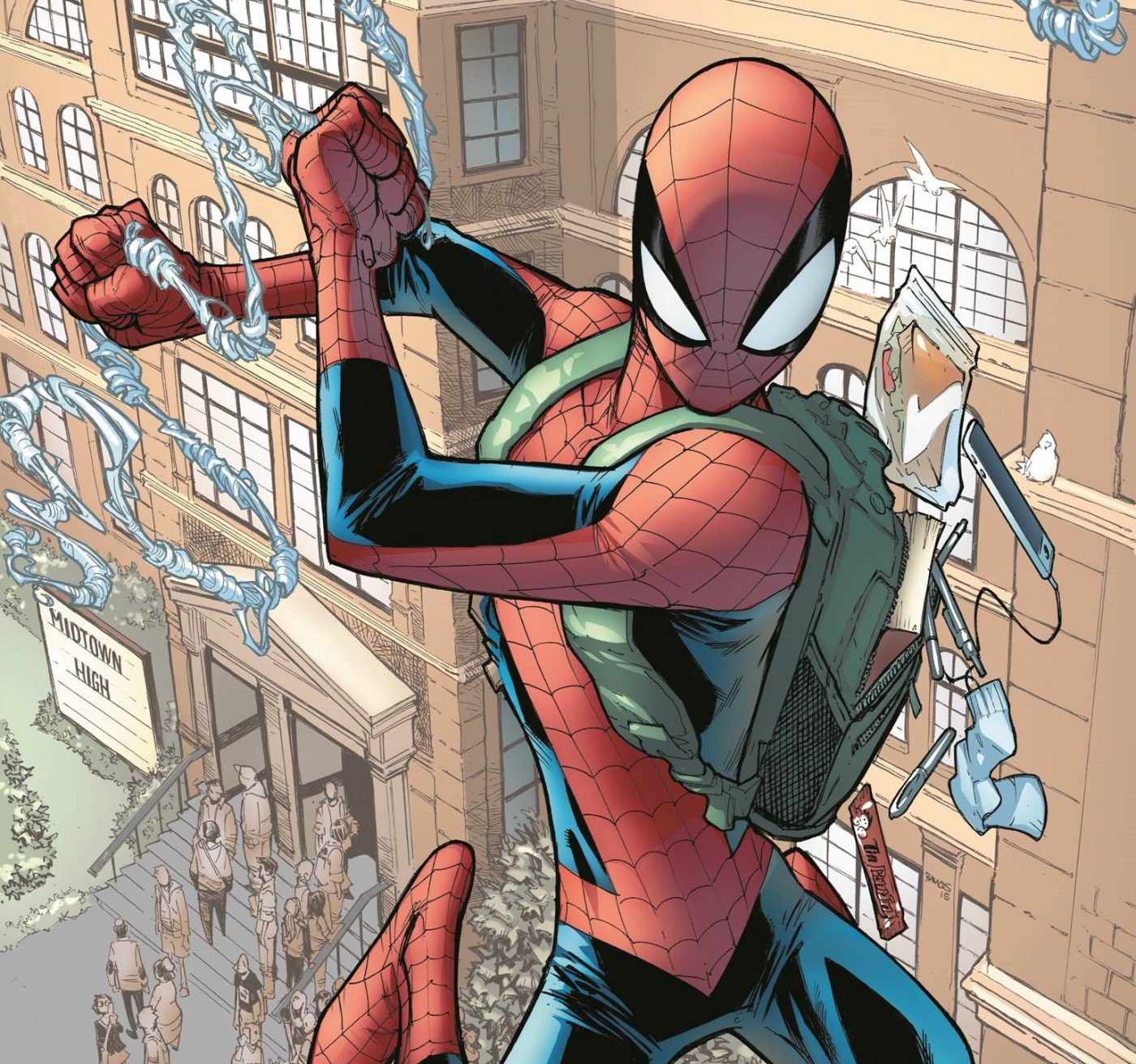 "Today, he's the world's greatest super hero. But long before he swung from rooftops as the Amazing Spider-Man, he was a super powered teenager who knew that ""with great power must also come great responsibility."" Today, Marvel is pleased to present your new look inside SPIDEY #1 – the new ongoing series from fan-favorite writer Robbie Thompson (Silk, Venom: Space Knight) and blockbuster artist Nick Bradshaw (Wolverine and the X-Men, Guardians of the Galaxy)! Class is in session as these two explosive creators take Peter back to school for a classic and iconic take on the Spider-Man mythology. Familiar faces and characters populate Peter Parker's world as he balances his double life as high school student and the high-flying, web-swinging new hero Spider-Man!"