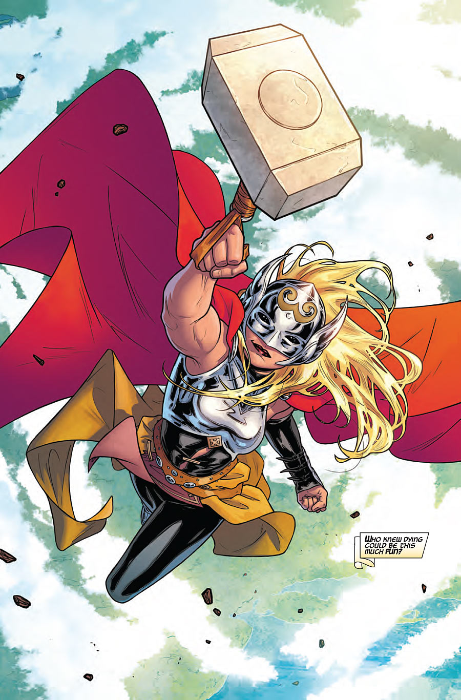 Dr. Jane Foster once again wields the mighty Mjolnir to become the Goddess of Thunder in The Mighty Thor #1.
