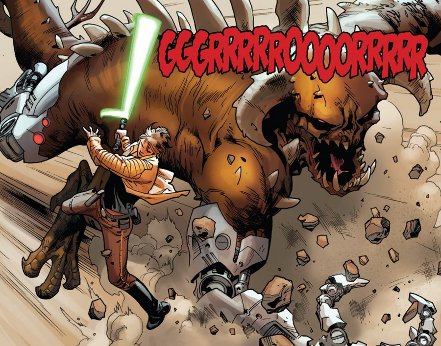 "Solicits for this book state this is ""Chewbacca Unleashed,"" which is pretty fantastic. On top of that we see Chewbacca actually laying down in pain.  Weird, right? I can't recall ever seeing him not standing.  (Editor's Note:  What, you don't remember seeing ""Chillaxin' Chewie"" from Chewbacca #1?)"
