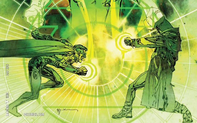 We have reached the 50th issue of Green Lantern since the New 52 sprung a whole new world on us. Writer Robert Venditti has been writing us closer to a face off between Hal Jordan and...Hal Jordan? This issue brings the pain, but is it good?