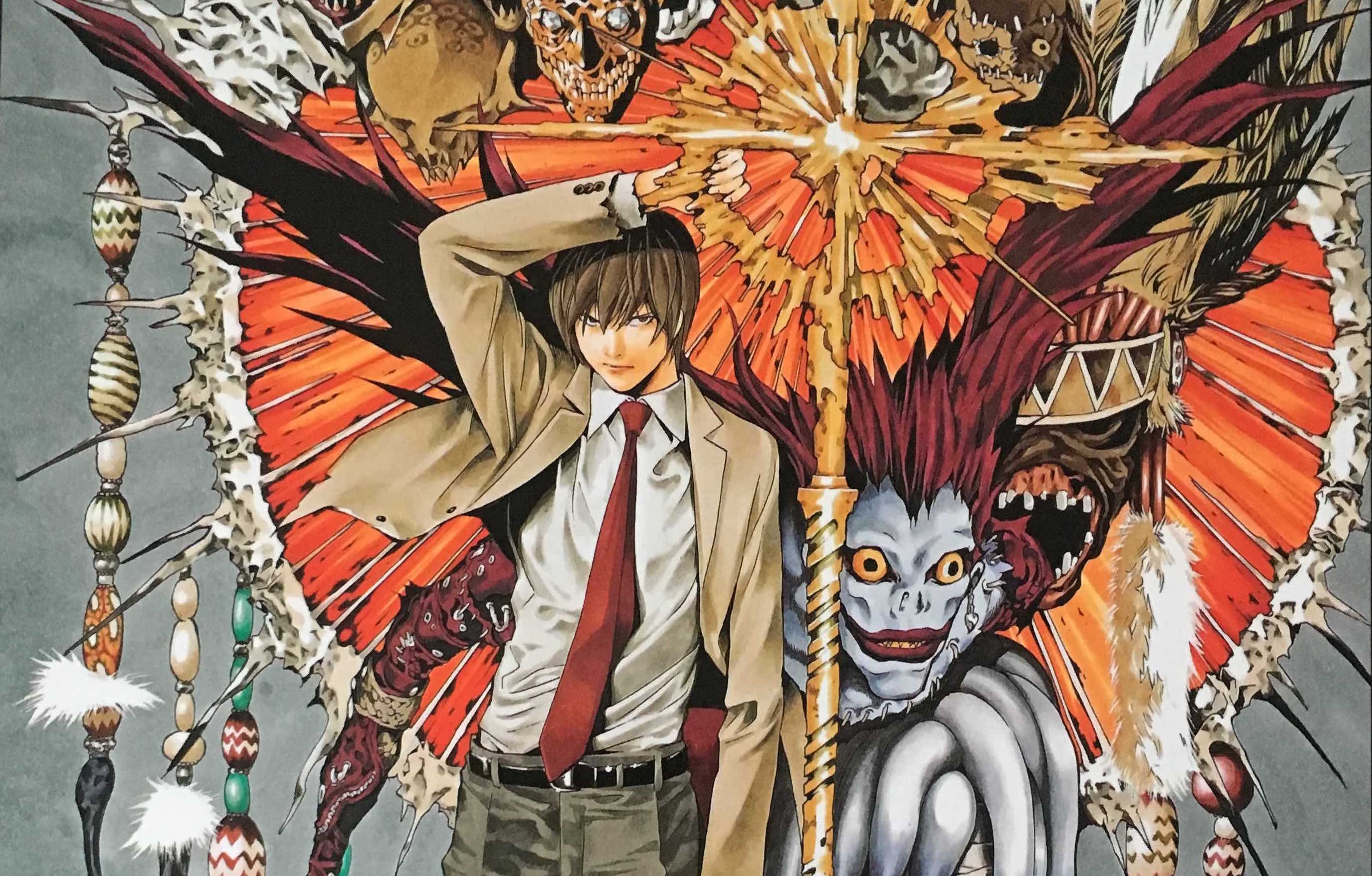 I'm a big fan of the manga Death Note. Not only because the story questioned morality, but because the art was vivid and at times spectacular. The story was intriging too as it showed us what could happen if a common teenager had the power to kill and be influenced by a god. That required a hell of an artistic prowess to pull off with gangly weird gods hanging over people's shoulders. Out this week, we look at Takeshi Obata's art book which displays much of his Death Note covers and full pages in their original size.