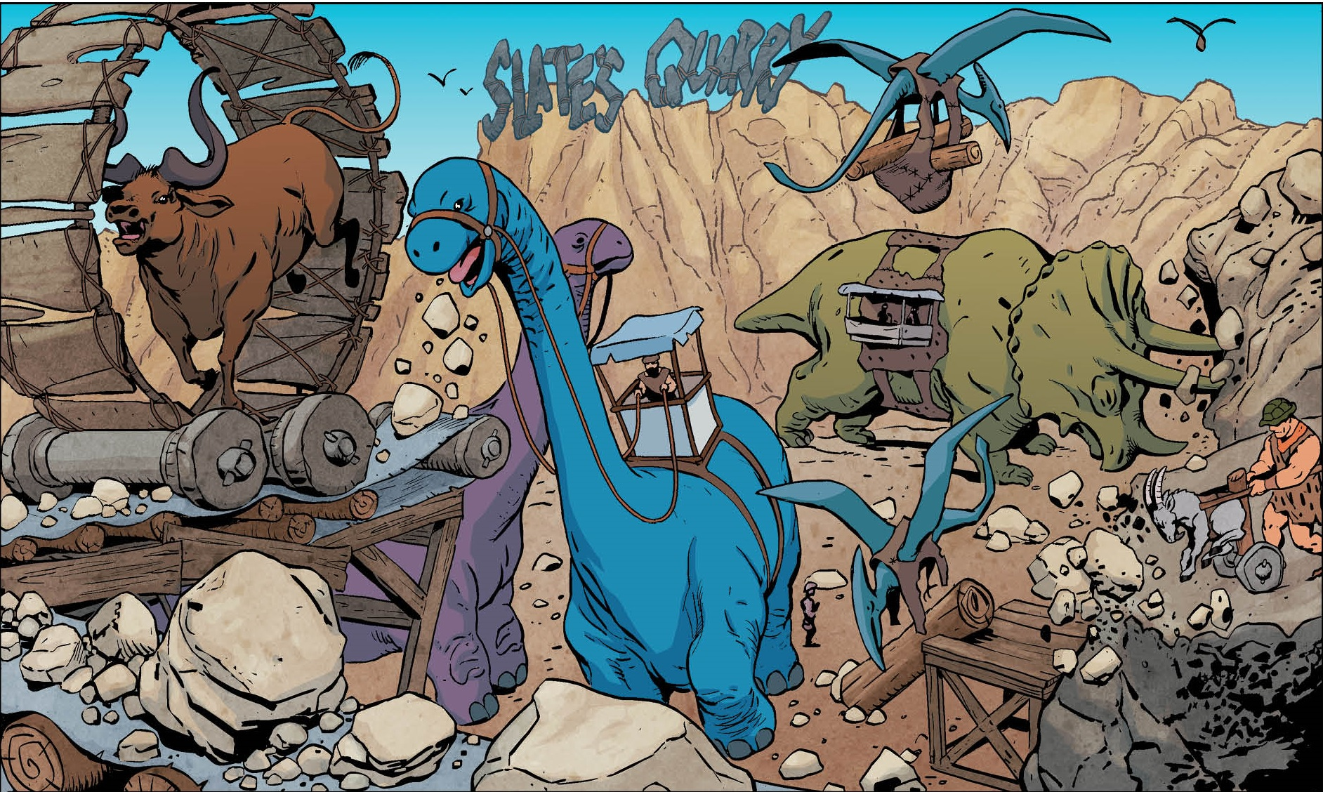 Taking a property as iconic as the Flintstones and bringing it into the modern era is always a challenging endeavor, yet that is exactly what writer Mark Russell and artists Steve Pugh and Chris Chuckry seek to do withThe Flinstones #1. Is it good?