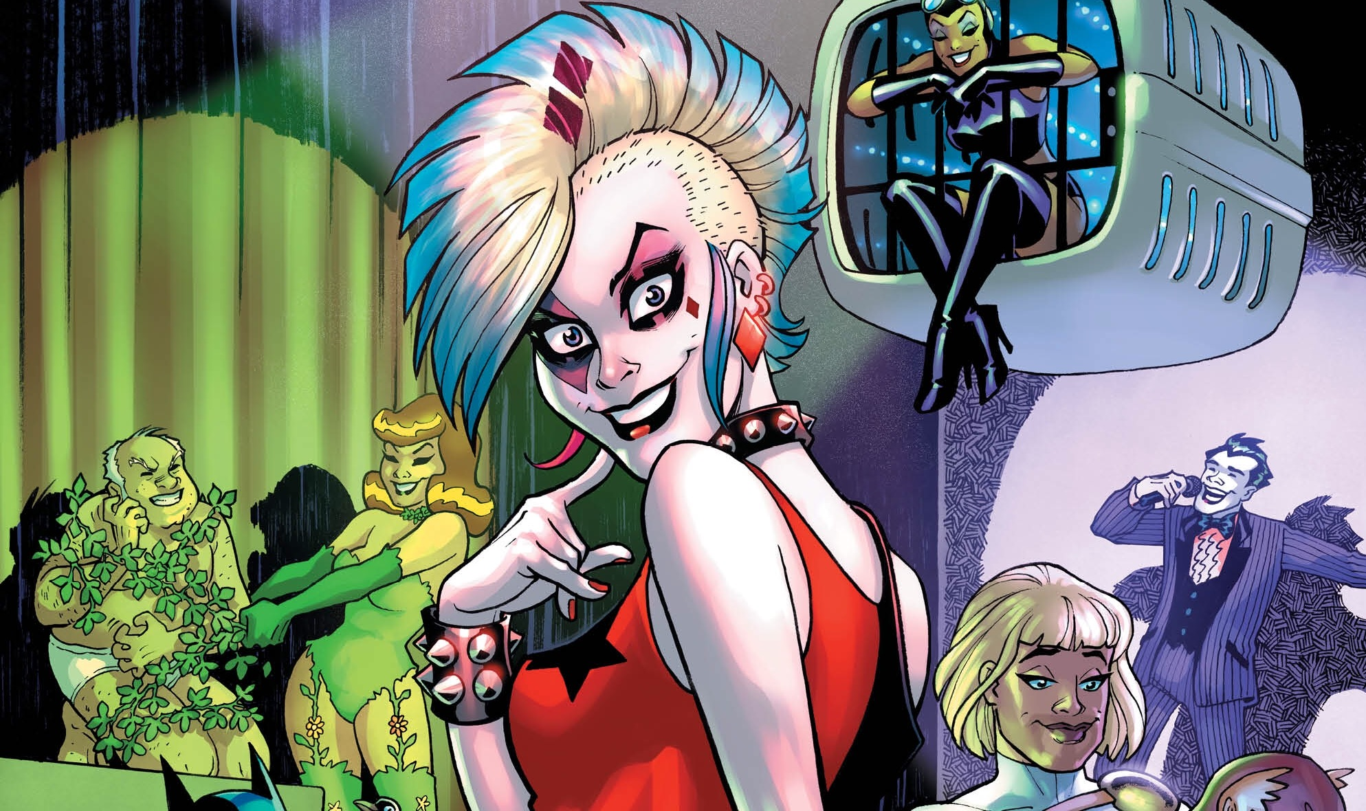 Harle--err, GG Harlin's days moonlighting as a punk rock frontwoman come to a close as the 'Eat to this Beat' story arc wraps up in Harley Quinn #7. Last issue ended with Harley finding herself in some kind of a superhero/super villain fetish club; seems right up her alley, honestly. Is it good?