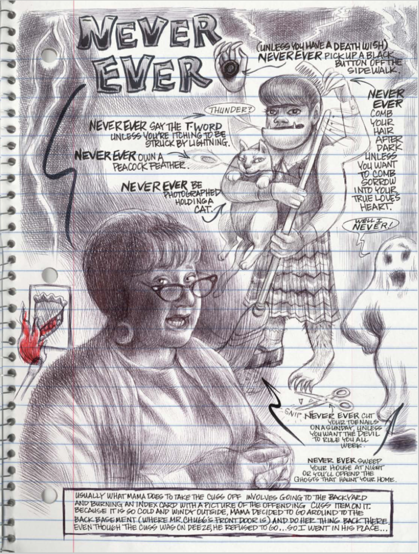 Written from the perspective of 10 yr old Karen Reyes, as she draws and records daily events in her spiral-bound notebook journal, My Favorite Thing Is Monsters stands apart in appearance and narration.  This large graphic novel comes in at over 340 pages, and tells the story of Karen and how she relates to her family and neighbors in 1960s Chicago. She also gets to play junior detective as she tries to find out if her upstairs neighbor committed suicide, like the police want everyone to believe, or if she was murdered.  Is it good?
