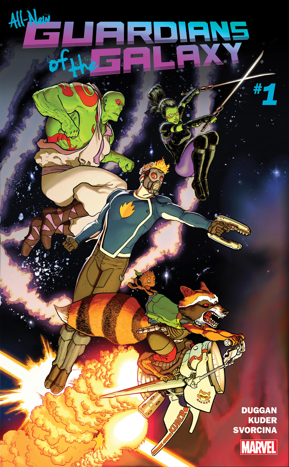 A NEW ERA OF COSMIC ADVENTURE BEGINS HERE! The Guardians of the Galaxy have taken off into space once more, on their biggest and weirdest misadventures yet! Kicking things off with the biggest heist they've ever tried, we join Star-Lord, Rocket Raccoon and company as they blast their way through the galaxy, the peacekeepers of the Nova Corps hot on their tails.