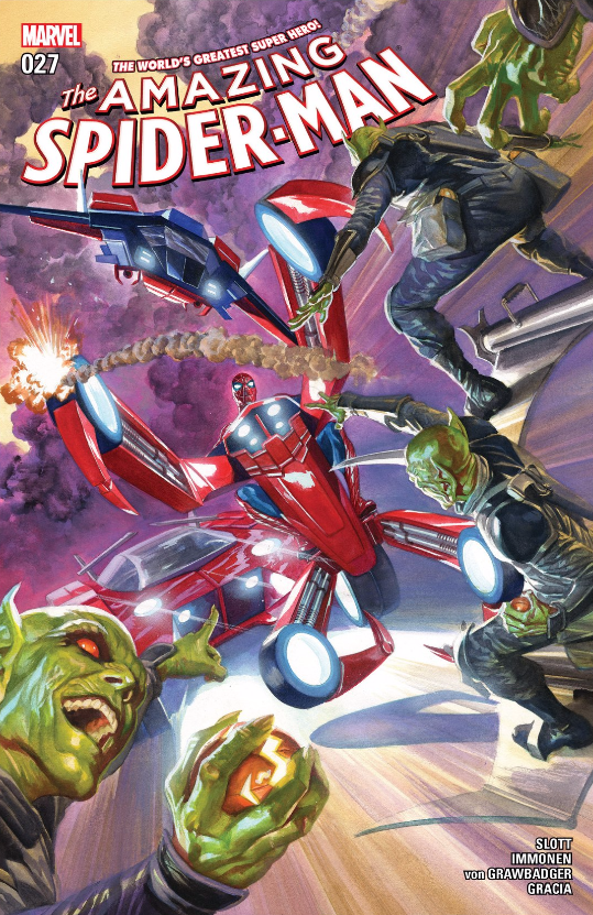 You've got to hand it to writer Dan Slott: he knows how to ramp things up to 11. After his fantastic Spider-Verse storyline and the nearly perfect Superior Spider-Man I trust the guy completely when it comes to Spidey. That said, I was slightly perturbed to see a rather outrageous cover to this issue that just screams schlock. Now, to review the bugger!