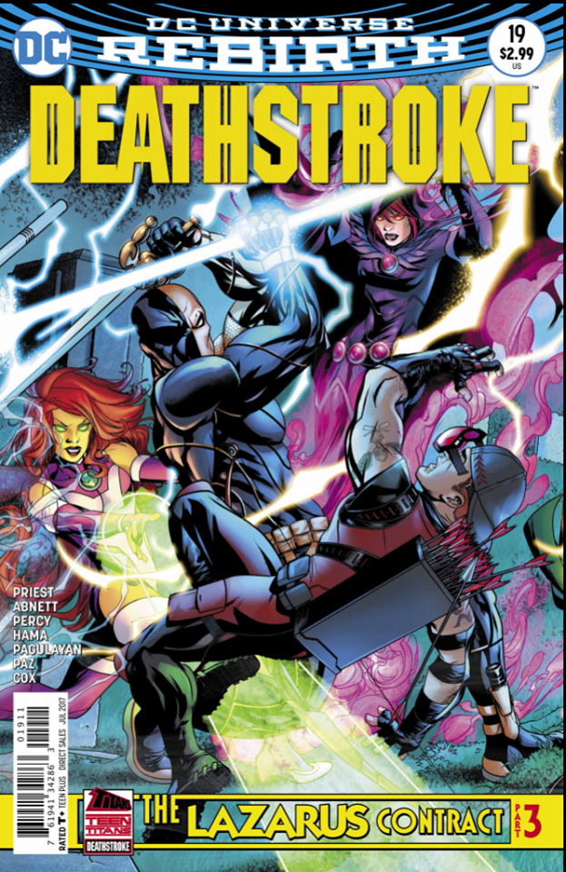 Deathstroke #19 continues the epic story of the Lazarus Contract. With Deathstroke's new speedster abilities, he sets his eye on the past to prevent his son, The Ravager, from being murdered. Both the Titans and Teen Titans have teamed up together to stop Deathstroke to ensure that there's no more tampering with time.