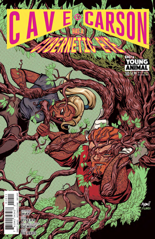 Cave Carson must navigate his emotions while living trees attack. Just another day in the DC Young Animal universe.