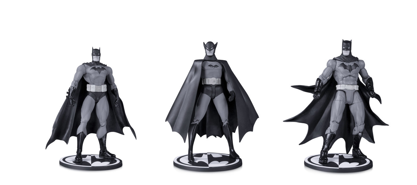 DC Collectables is making posable black and white Batman action figures and they're so damn noir!