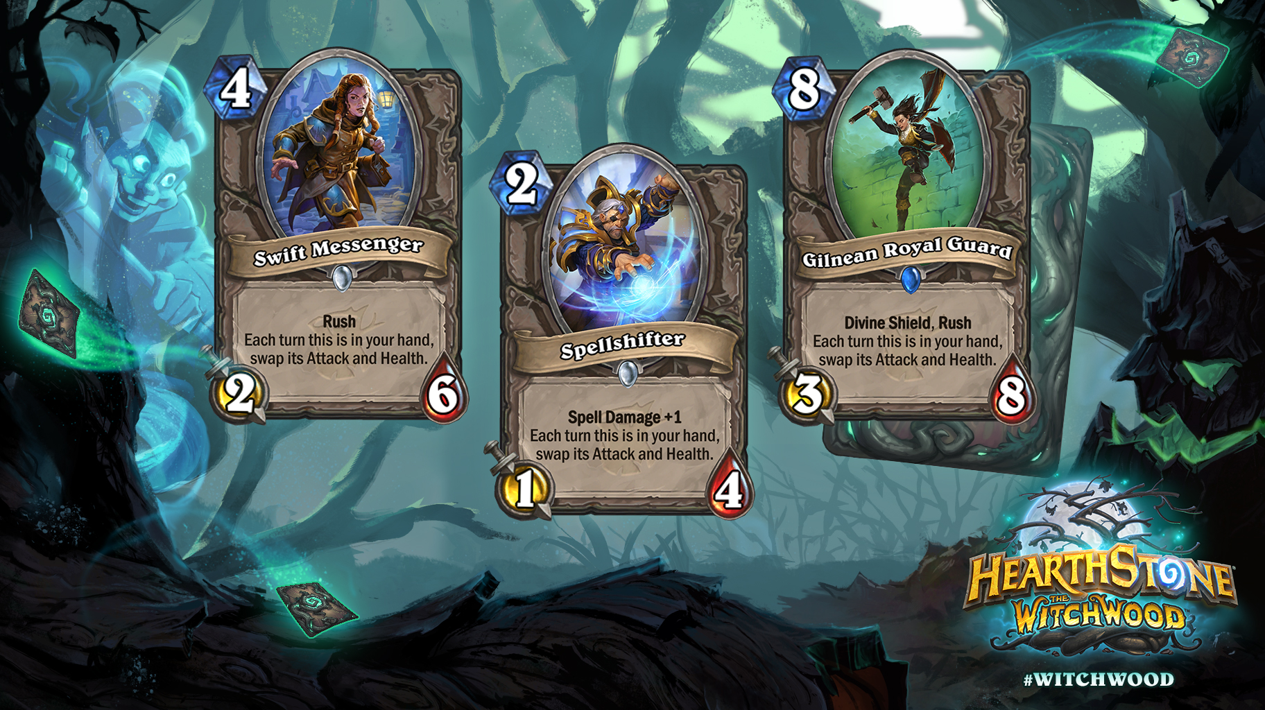 Hearthstone: The Witchwood: Three new neutral minions revealed; Gilnean Royal Guard, Spellshifter and Swift Messenger