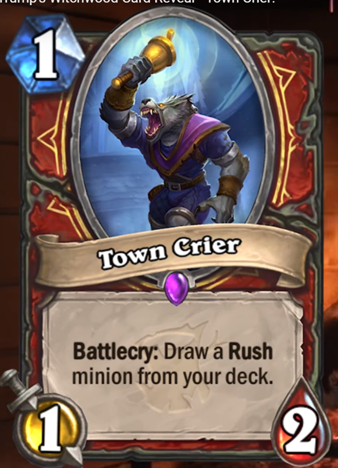 Hearthstone: The Witchwood: New Epic Warrior card revealed, Town Crier