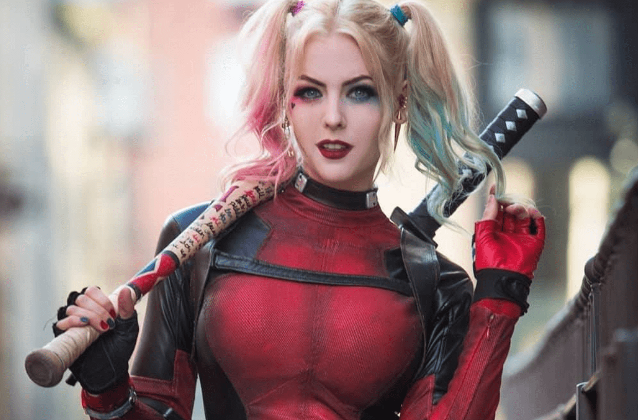 Lady Deadpool And Harley Quinn Deadpool Mashup Cosplay By
