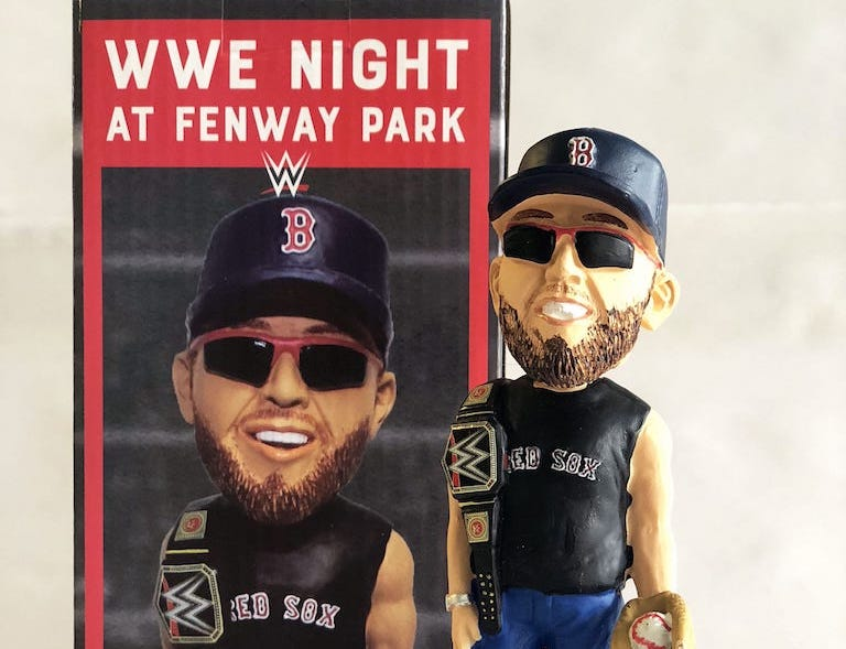 Win a one of a kind WWE and Red Sox inspired bobblehead.
