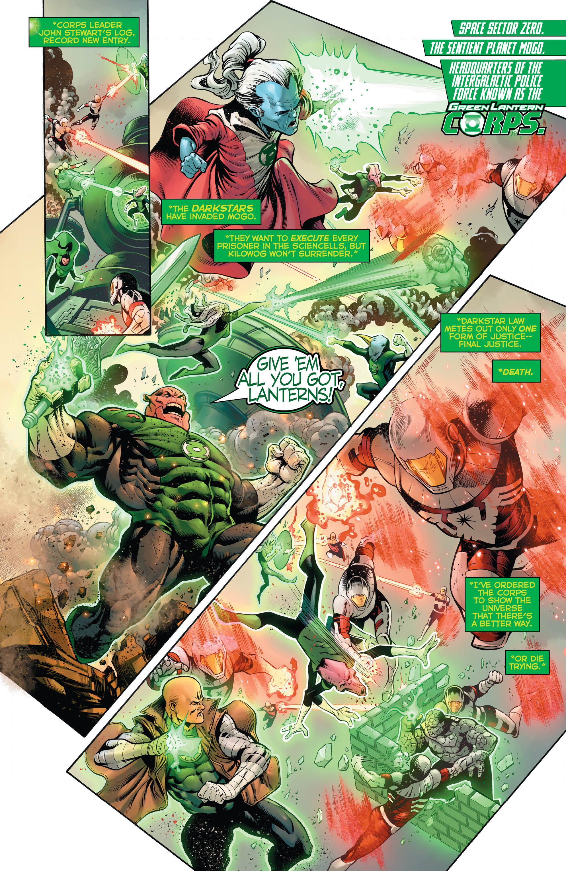 The Green Lantern Corps stand their ground against the Darkstars in this action-packed issue!