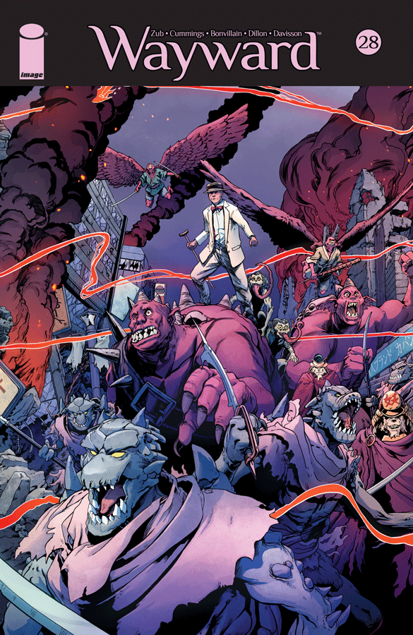 With only two issues left in the series, Wayward is ramping up the action to deliver an epic finale. I didn't review the last issue, but when I read it, I found it strangely paced, which was disappointing since I loved issue 26 so much. This issue is better paced, even if it's still following up on the strange decision to kill Shirai just to help him go some sort of Super Saiyan. (By the way, the design for this is not a favorite of mine.) Most of this issue is dedicated to action and fight sequences, which isn't by itself a bad thing, but Wayward has always preferred those sequences over character moments, so it feels like more of a back-to-the-basics thing in this instance.