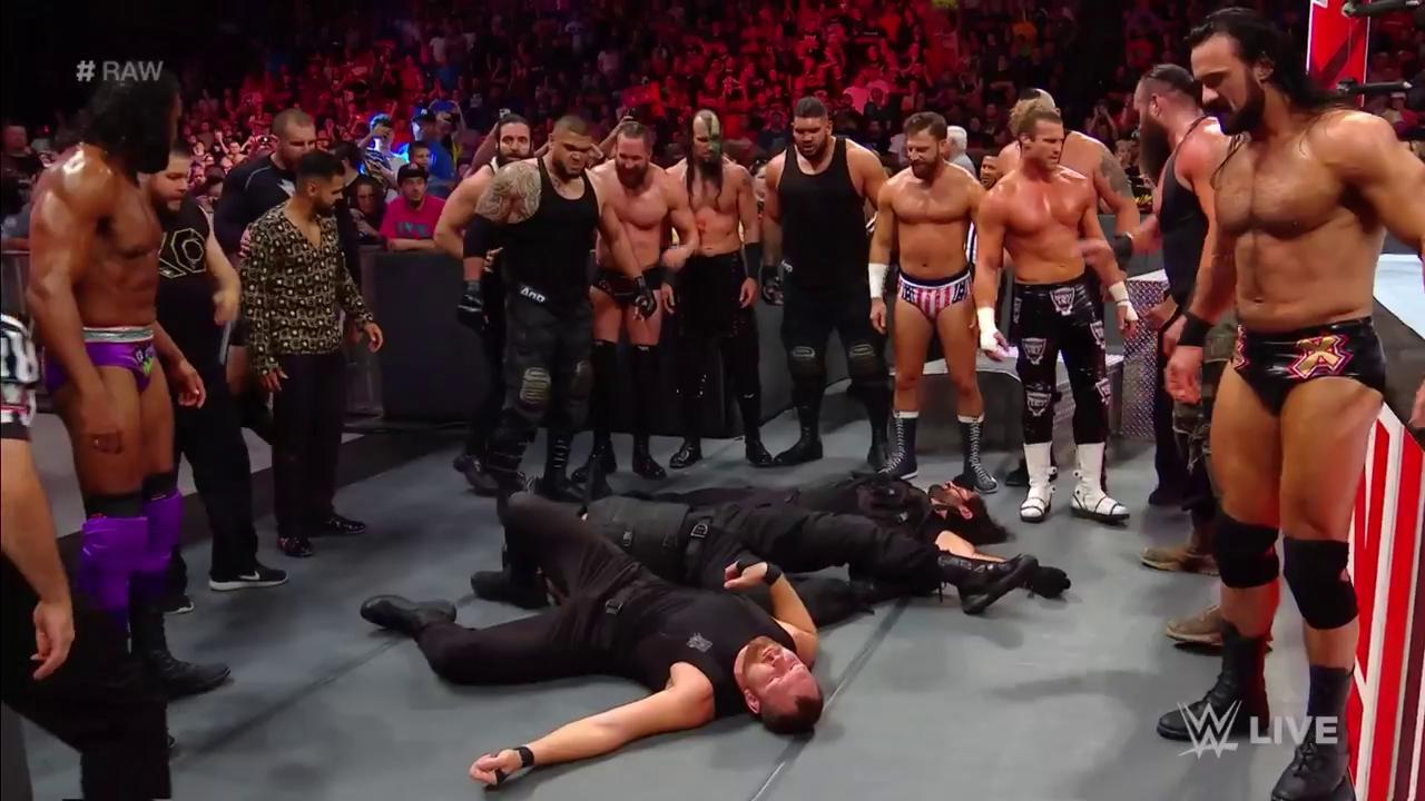 Watch: The Raw roster dismantles The Shield to cap off a wild WWE Raw