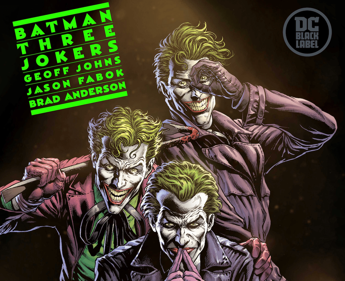 "The much anticipated Batman: Three Jokers story from DC Comics' Black Label imprint just got a lot more real. Today at New York Comic Con during Geoff Johns' spotlight panel, Johns and Jason Fabok, the artist on the book, shared secrets, concept art and details on how they've built what Fabok calls ""the ultimate Batman story."""