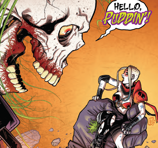 If you've read Harley over the last five years you'll know the humor tends to be tongue in cheek, fourth wall breaking, and self-reflective.  If those qualities sound similar to another character, Harley's already got you covered, as the Deadpool-parody character named Red Tool (who first appeared in Harley Quinn #26) makes an appearance this issue. And it's certainly not an accident the title of this new miniseries is a play on the now famous Mark Millar-helmed series featuring Logan. So if you feel indulgent and want to explore a semi-comical take on a futuristic Harley who lives in a barren wasteland, not unlike Wolverine did, then buckle up and enjoy this ride.