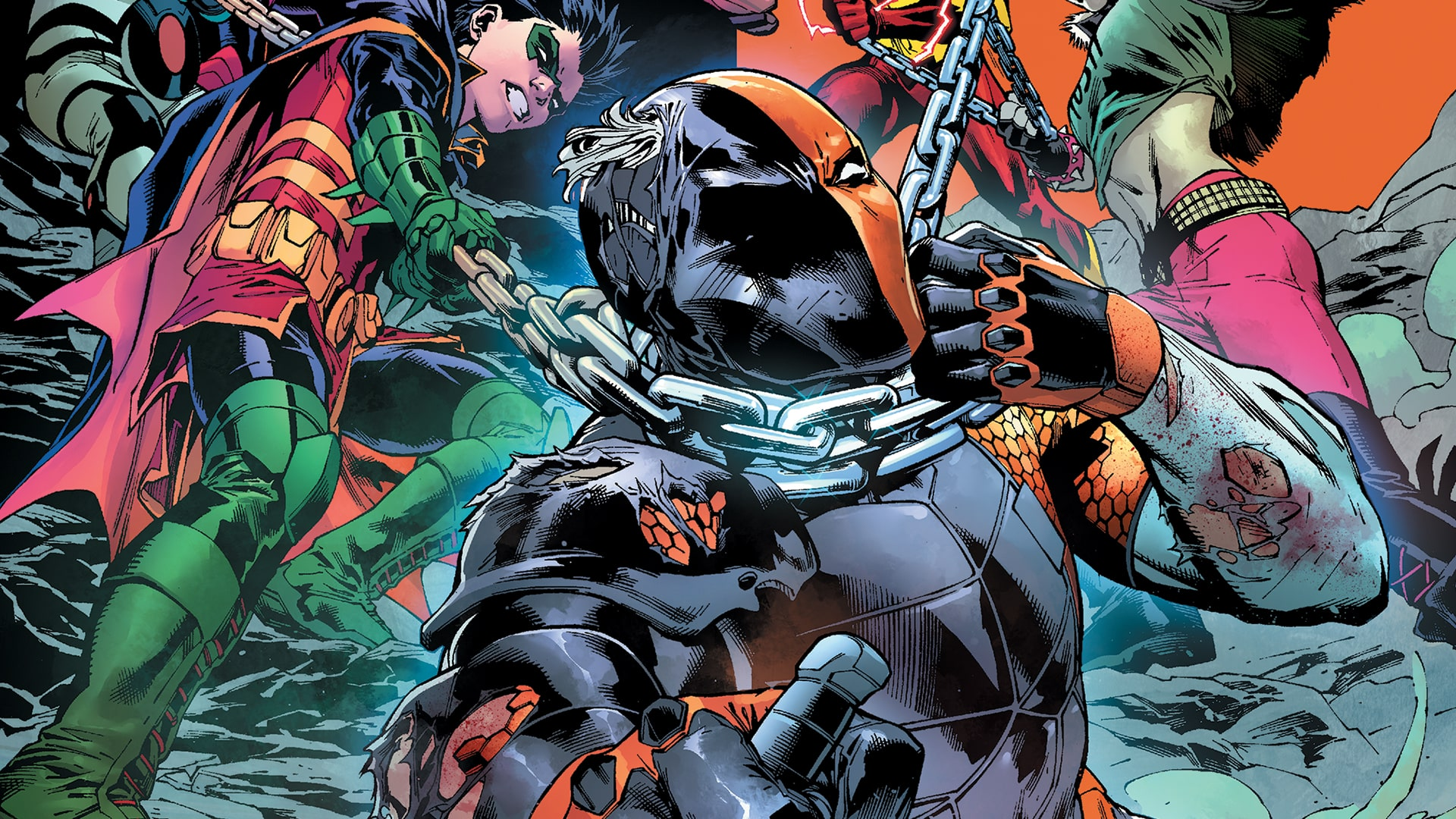 After murdering his therapist and escaping from Arkham Asylum via its revolving door, Deathstroke's body count has continued to rise. Left unchecked, the assassin's exploits will certainly bring Gotham City to its knees. With a renewed sense of vindication, and a chip on his shoulder the size of a giant sequoia, Damien aims his new team of Teen Titans at Deathstroke. Will the team be able to bring the villain to justice or will Deathstroke elude apprehension once again?