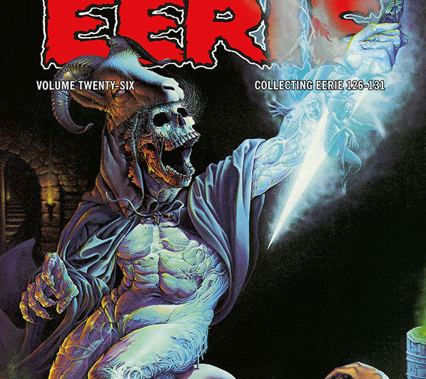 Over 300 pages of ghastly horror, alien worlds, and heroic adventure await in Eerie Archives Volume 26.