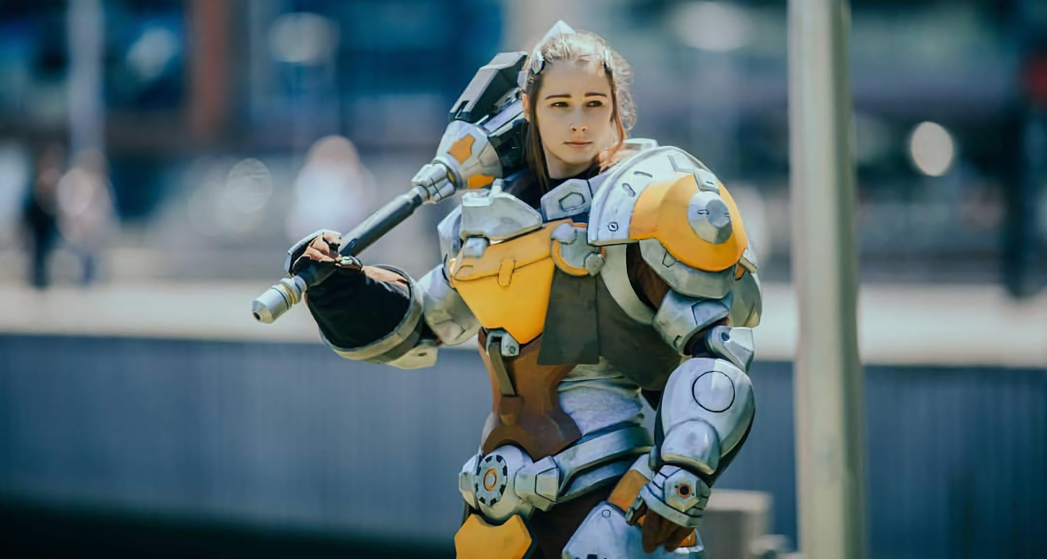 Cosplayer Danielle Debs as Overwatch's Brigitte looks ready to Shield Bash and Whip Stun anyone who gets in her way.
