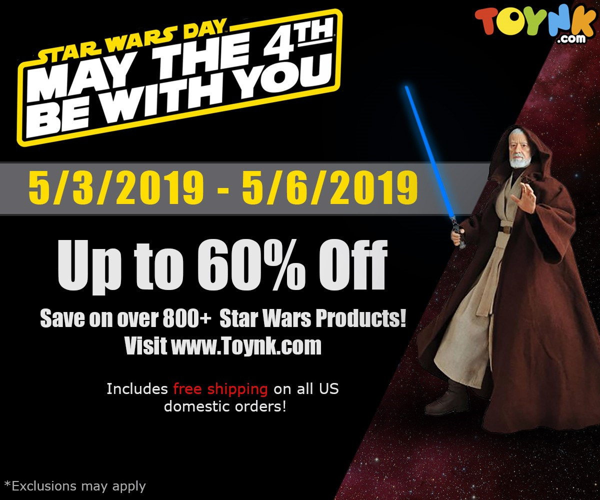 Check out the great products Toynk.com will have on sale for Star Wars Day!