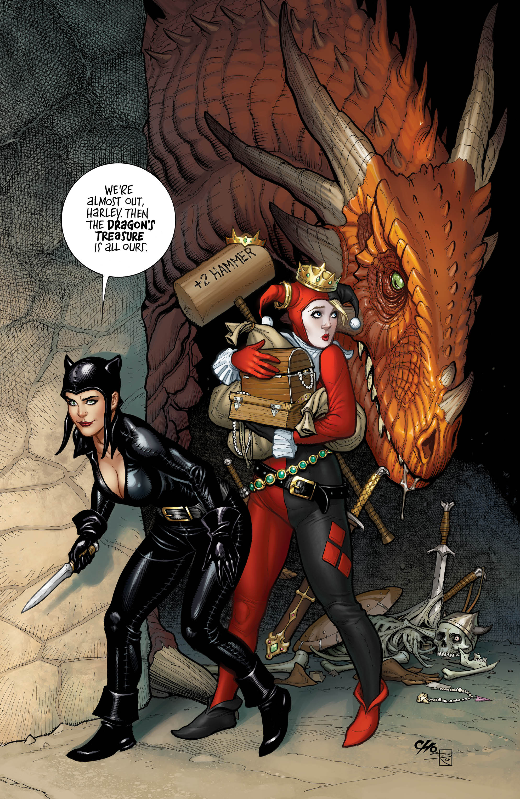 Tied to a stake with a Dungeons and Dragons inspired Catwoman, Harley can feel the heat begin to rise as her one-time friend Tina stokes the fire. Will Harley be able to roll a natural 20 on her escape artist skill check to escape the restraints or will her metaphorical chestnuts roast on this open fire? What do you mean she never took that skill? She has experience escaping from Arkham Asylum all of the time! Hopefully, she has more than twelve percent of a plan, because, if she fails, the entire world will be doomed to this renaissance fair madness.