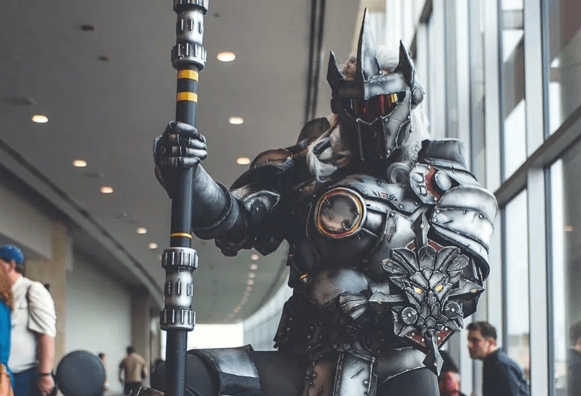 You'll feel safer than you've ever felt before after you see this Reinhardt from Overwatch cosplay by Candyskull.