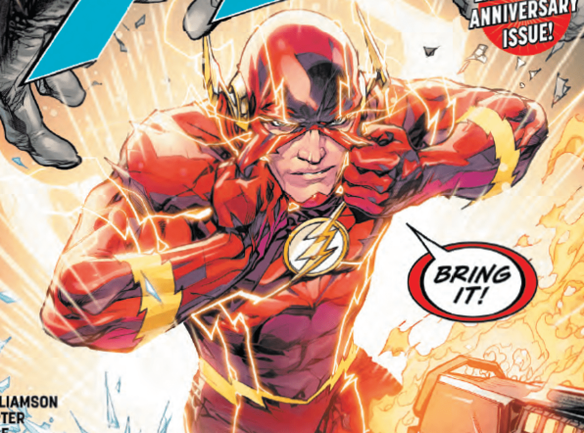 This oversize anniversary issue marks the end of Barry Allen's journey to become the Flash–but at what cost?