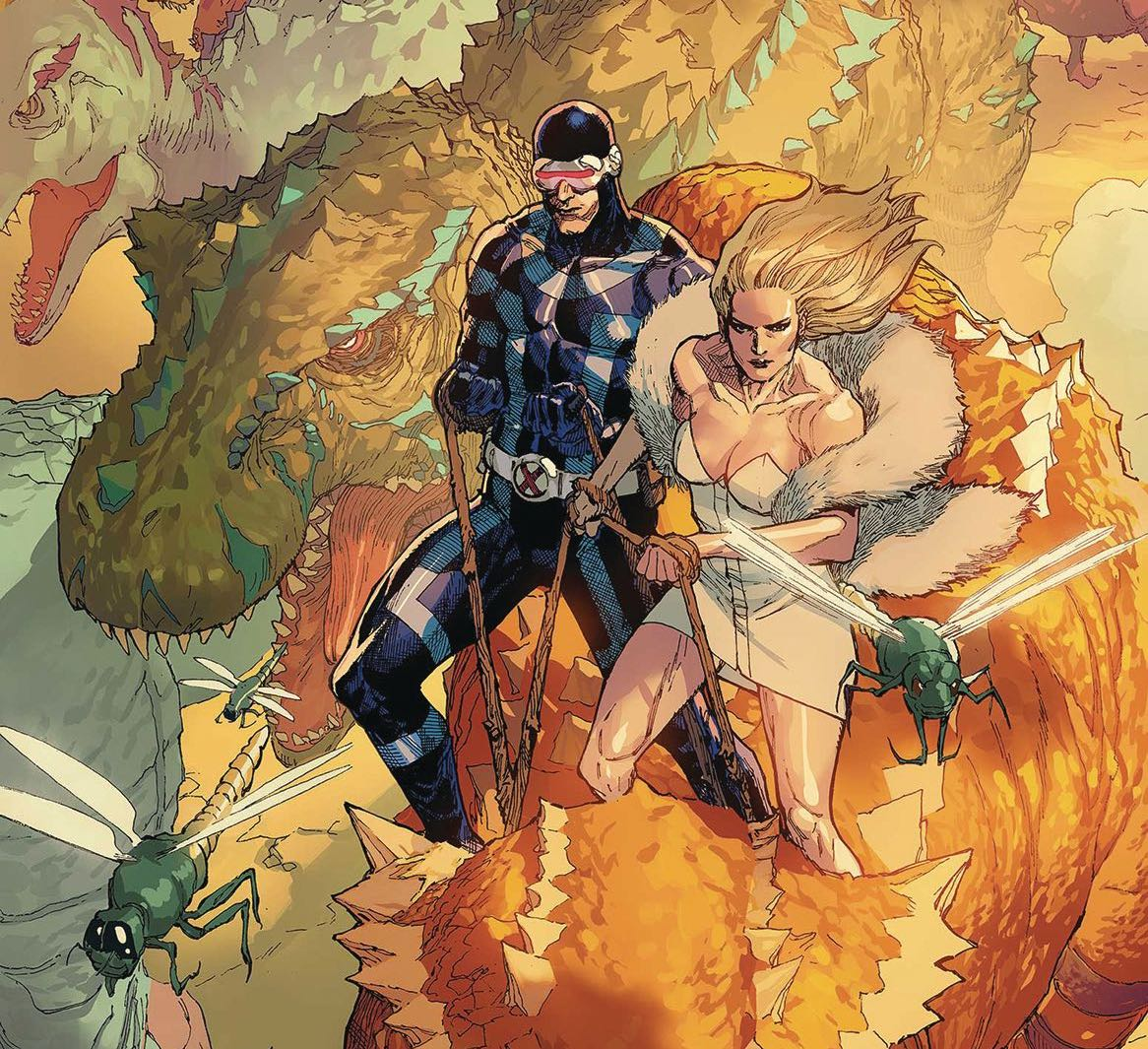 Cyclops, Jean, and Emma, sitting in Savage Land...