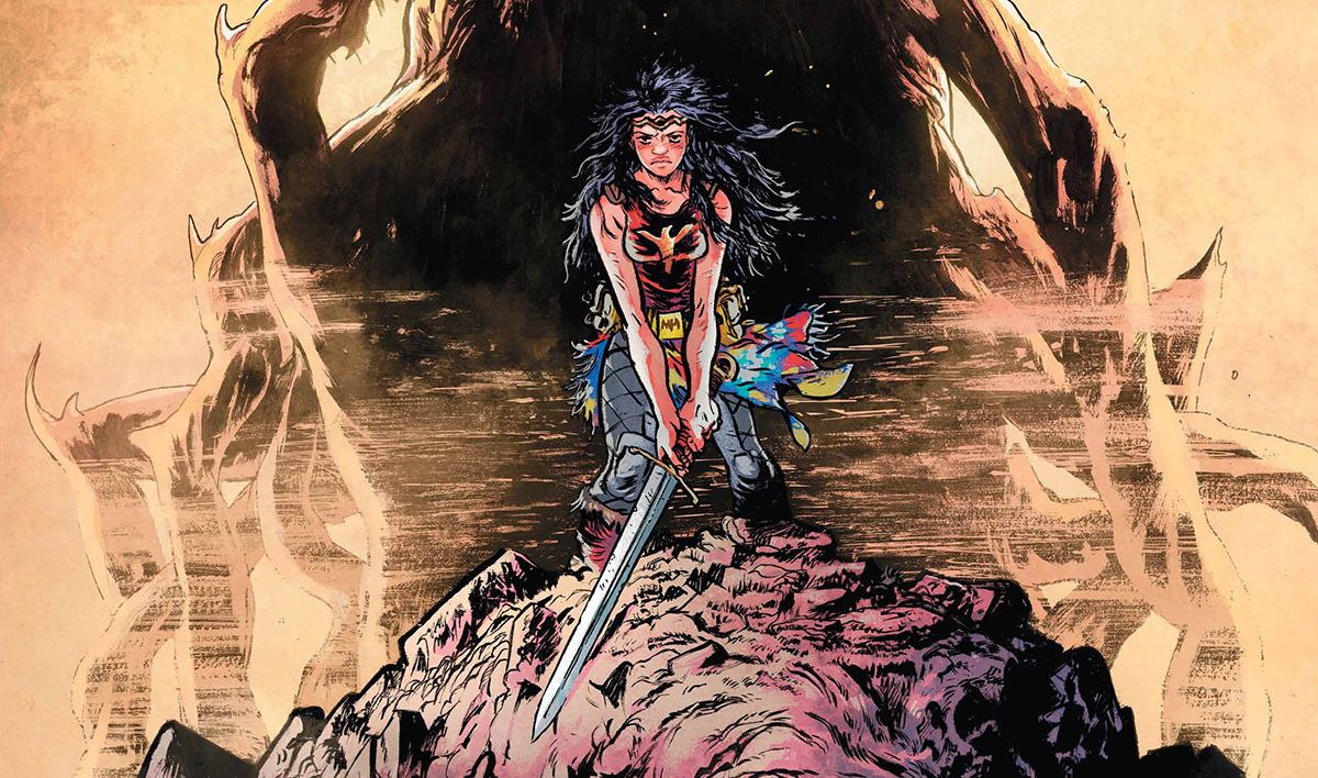 Daniel Warren Johnson is a really exciting name in comics right now. Concluding Murder Falcon, which was one of the best books of the year, he's on a bit of a roll. Boasting an energetic style that is both loud and explosive, there's something very metal and deeply fun about his work; the sense of movement he's able to get across, the way he frames his characters, to be gentle and human, delivering these little moments of character, while also packing in high-octane and ridiculous moments that don't feel out of place. The man wrote a book about the power of music in the face of world-ending negativity monsters, where in a cosmic falcon who loves heavy metal, punching evil and drinking beer is a lead character. That's his vibe and it's a vibe that's evident in Wonder Woman: Dead Earth.