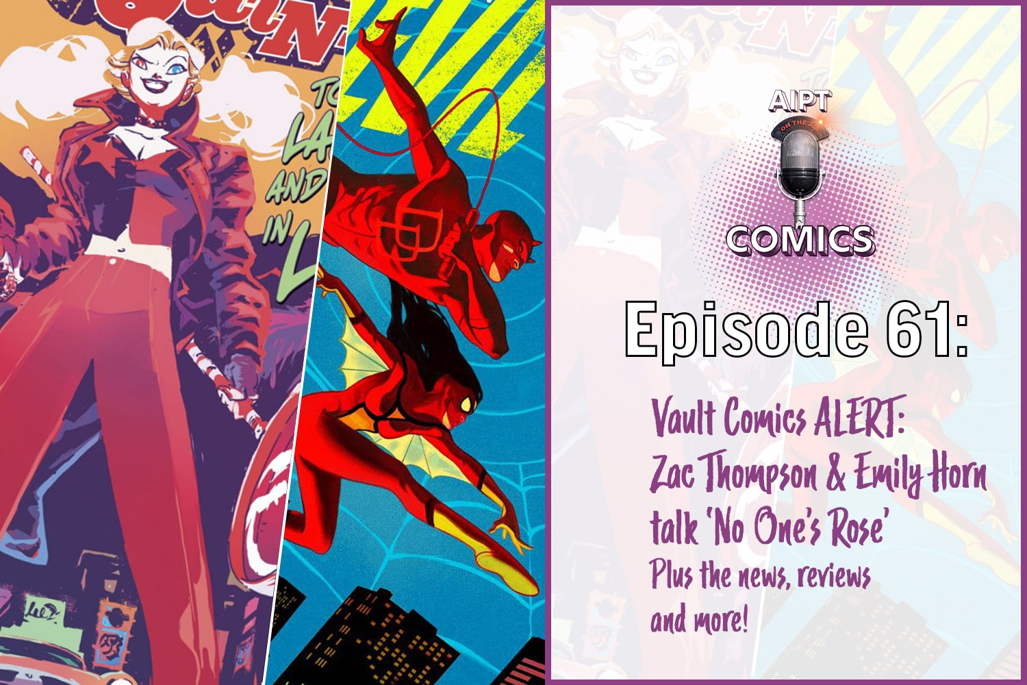 This week special guests Zac Thompson and Emily Horn join us to talk about their upcoming Vault Comics series No One's Rose out March 25th. We get into the nitty-gritty, discuss science fiction, and more!