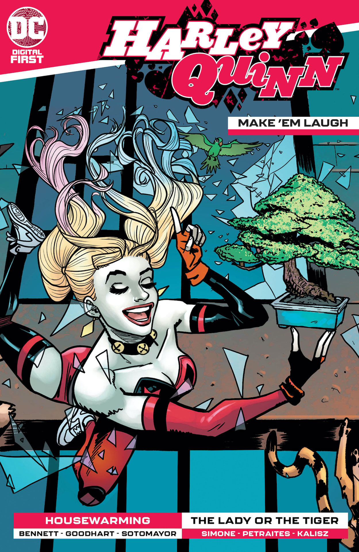 "Harley Quinn: Make 'em Laugh features the stories ""The Lady or the Tiger"" and ""Housewarming."""