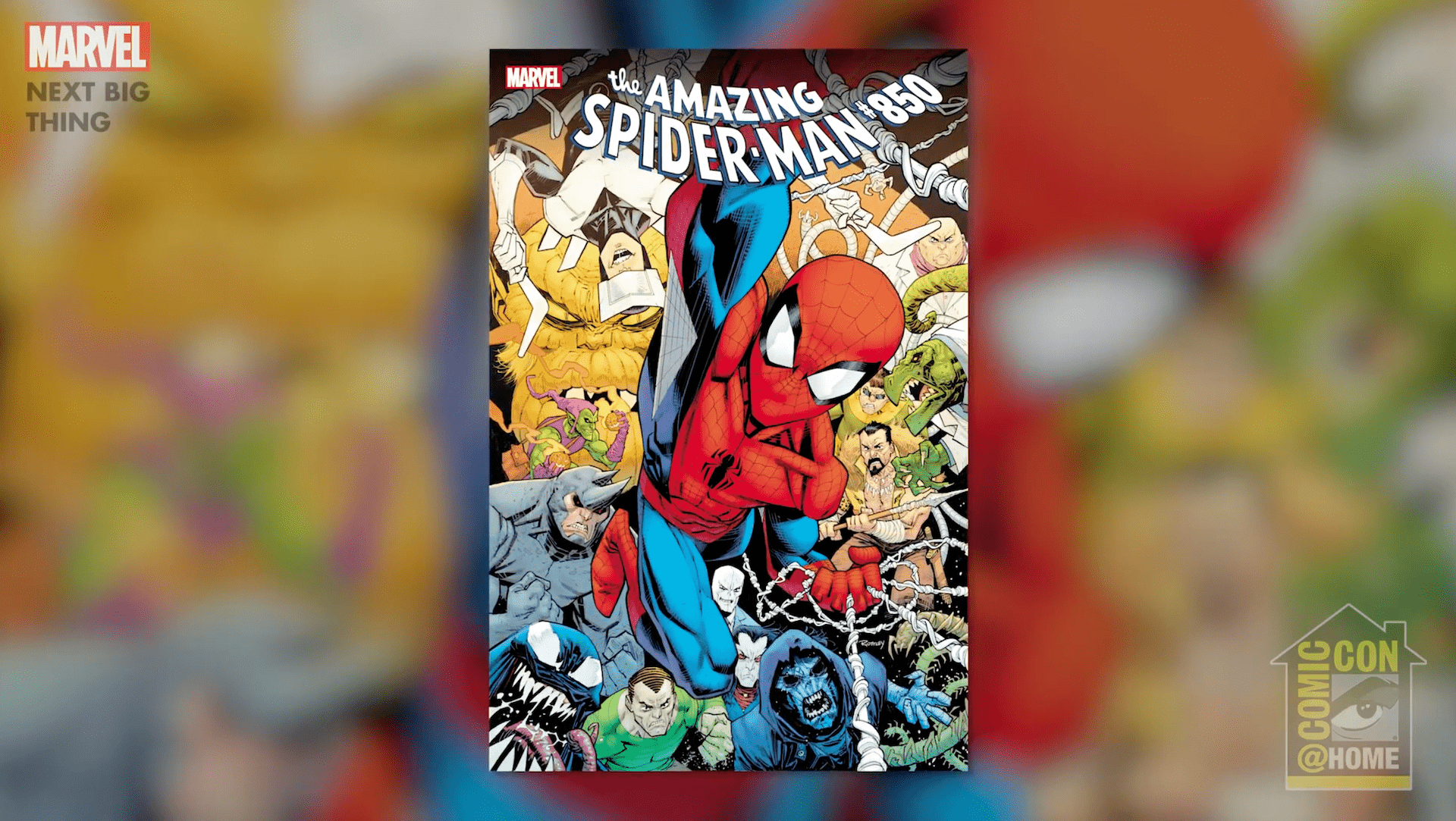 The 'Next Big Thing' panel gives details on Nick Spencer's Spider-Man and the milestone #850 issue.