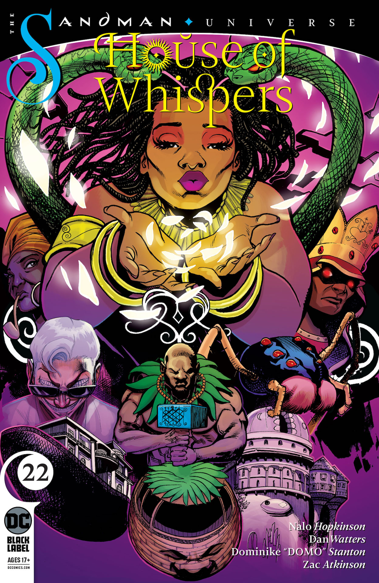 "The time has come for both Erzulie and Poquita to take back the power of their twinned Houses…but Anansi will stop at nothing to keep his treasures! The sweeping epic of Erzulie's war with the trickster god comes to an explosive conclusion! House of Whispers #22 <p>Written by Nalo Hopkinson, Dan Watters Pencils Dominike ""Domo"" Stanton Inks Dominike ""Domo"" Stanton Colored by Zac Atkinson Cover by Dominike ""Domo"" Stanton Release Date: July 7, 2020</p>"