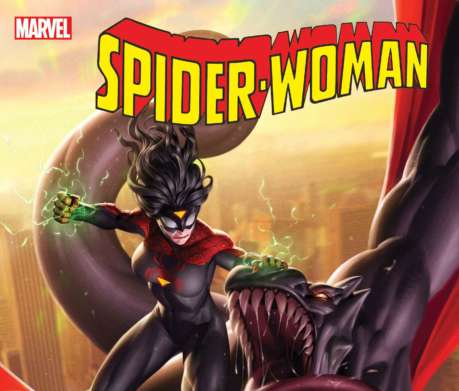 Under the cover of the Knull invasion, Spider-Woman is stealing elements of a cure to her condition…OR IS SHE?