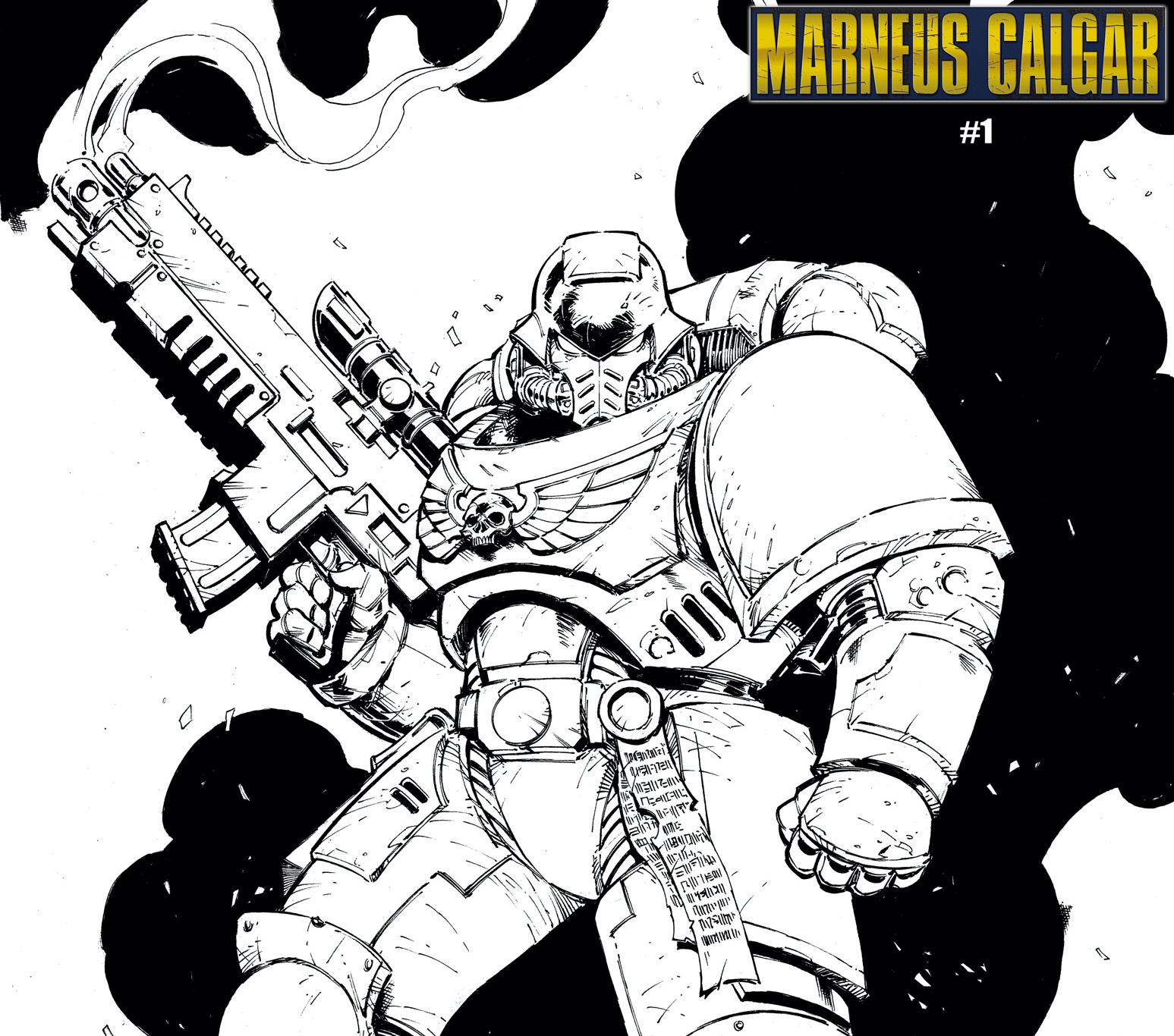 Marvel reveals 'Warhammer 40,000: Marneus Calgar' #1 color your own cover