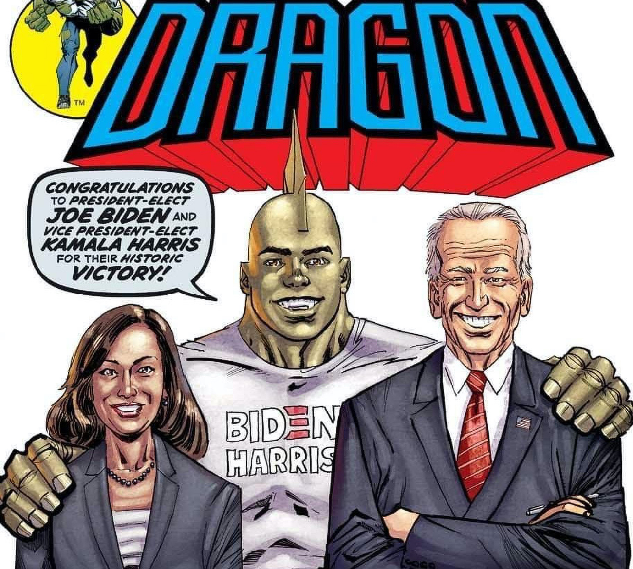 Savage Dragon officially congratulates Joe Biden and Kamala Harris on 2nd printing cover