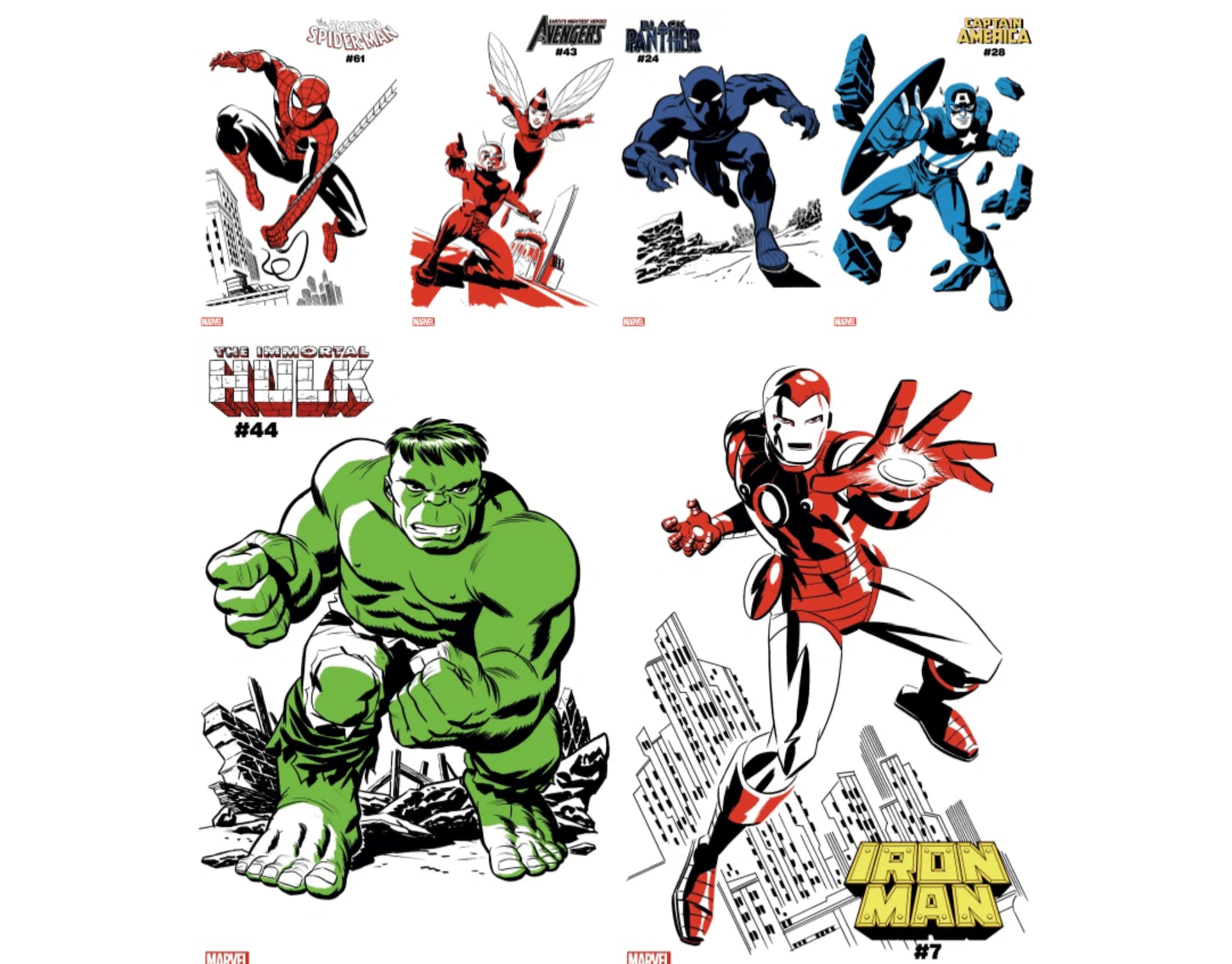Michael Cho brings Marvel's biggest heroes to life in 10 two-toned variant cover series