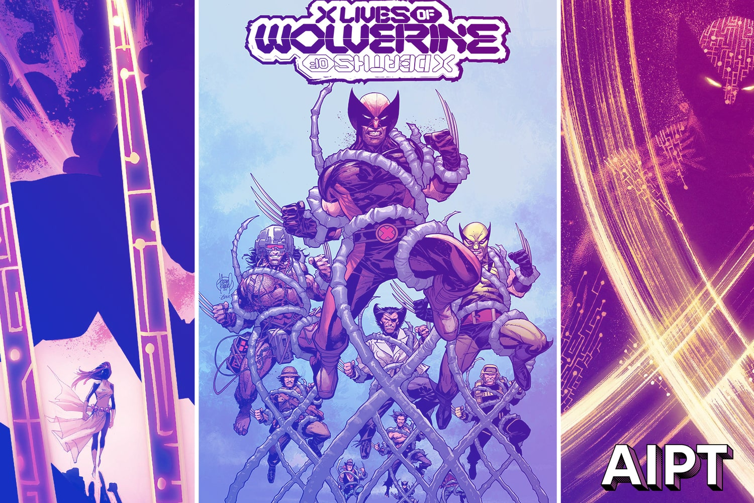 Wolverine traveling through time in 'X Lives of Wolverine' and X Deaths of Wolverine' in 2022